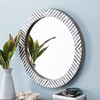 west elm Parsons Round Mirror - Herringbone