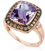 "LeVian Le Vian Chocolatier®, Sea Blue Aquamarine®, Chocolate Quartz®, Vanilla Sapphiresâ""¢ & 14k Vanilla Gold® Ring"
