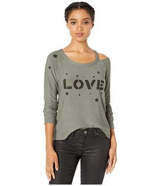 Chaser Love Stars Cozy Knit Long Sleeve Raglan Vented Neck Pullover