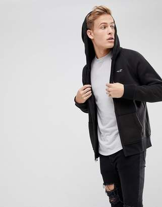 Hollister Full Zip Icon Logo Hoodie In Black
