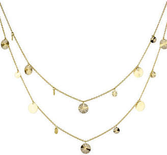 Tag Heuer FINE JEWELLERY 14K Yellow Gold Multi Strand Disks Layered Pendant Necklace
