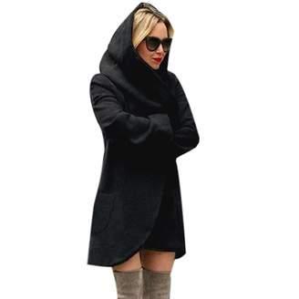 b4678fd481ad4 Amzeca Women Woolen Hooded Thin Coats Loose Ladies Casual Hoodies Jackets  Overcoat Top Outwear Women's Shops