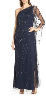 Adrianna Papell Beaded One-Shoulder Evening Dress