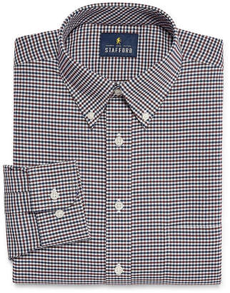 STAFFORD Stafford Travel Stretch Wrinkle Free Oxford Big And Tall Long Sleeve Oxford Plaid Dress Shirt