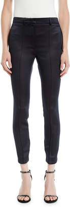 Rokh Fitted Button-Back Cropped Satin Pants