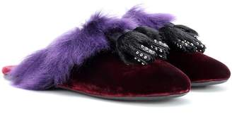Prada Shearling-lined velvet slippers