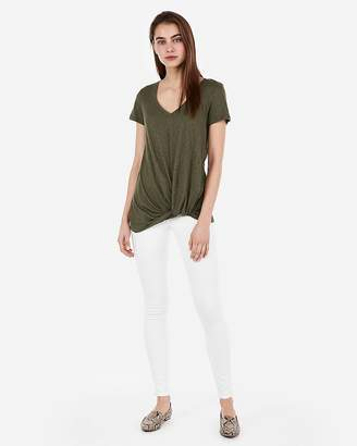 Express One Eleven Twist Front V-Neck Easy Tee