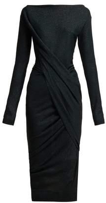 Vivienne Westwood Anglomania - Vian Draped Asymmetric Midi Dress - Womens - Black
