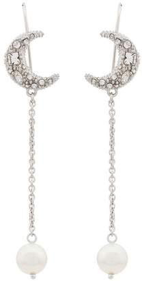 Miu Miu pearl and moon charm drop earrings