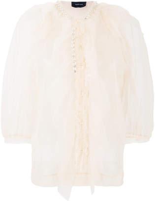Simone Rocha pearl-embellished tulle blouse