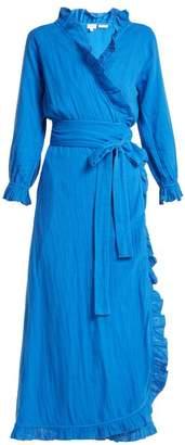 Rhode Resort - Jagger Ruffle Trimmed Cotton Dress - Womens - Blue