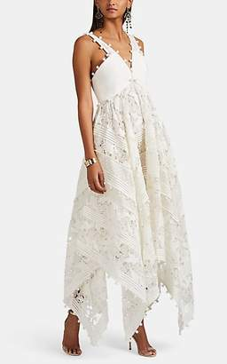 Zimmermann Women's Corsage Embellished Silk-Cotton Midi-Dress - White
