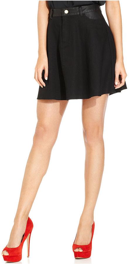 Monroe Marilyn Juniors Skirt, Mixed-Media Faux-Leather-Trim