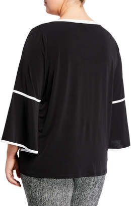 Iconic American Designer Chain-Accented Boat-Neck Jersey Blouse, Plus Size