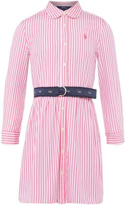 Polo Ralph Lauren Girls Thin Stripe Removeable Belt Shirt Dress