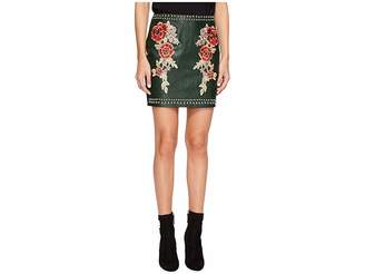 Romeo & Juliet Couture Studded Embroidered PU Mini Skirt Women's Skirt
