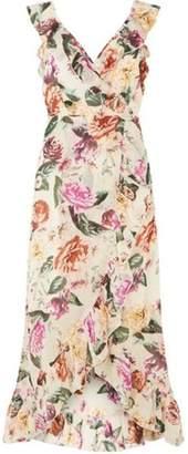 Dorothy Perkins Womens Cream Floral Ruffle Wrap Maxi Dress