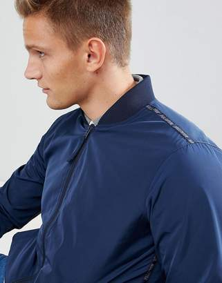Hollister Core Bomber Jacket Taped Sleeve Logo in Navy