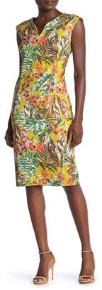 ECI Patterned Cap Sleeve Scuba Dress