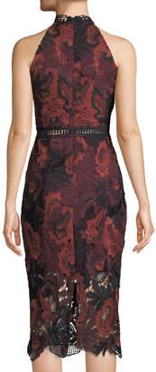 Neiman Marcus Floral-Lace Halter-Neck Midi Dress