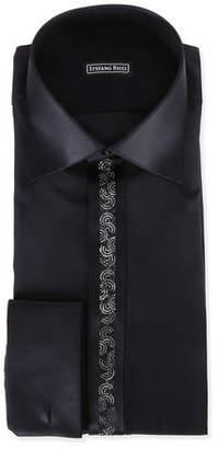 Stefano Ricci Crystal-Placket Silk Tuxedo Shirt