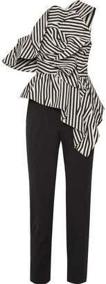 Self-Portrait SelfPortrait - Ruffled Striped Poplin Jumpsuit
