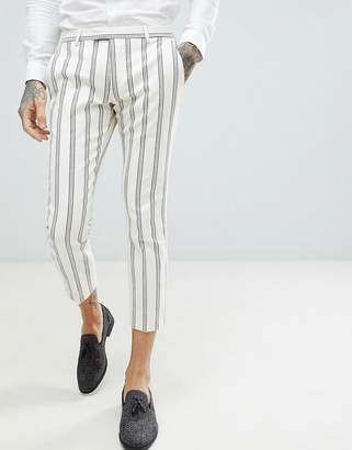 Twisted Tailor wedding super skinny suit pants in cream stripe linen