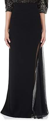 Lanvin Women's Mesh-Inset Crepe Maxi Skirt
