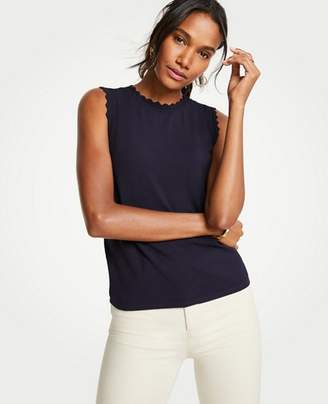 Ann Taylor Scallop Trim Crew Neck Shell
