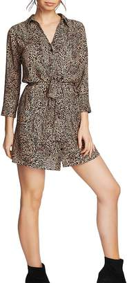 1 STATE 1.STATE Leopard Print Belted Shirt Dress