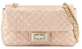 Karl Lagerfeld Paris Agyness Quilted Metallic Leather Shoulder Bag