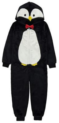 George Black Hooded Penguin Fleece Hooded Onesie