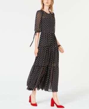 Betsey Johnson Chiffon Polka-Dot Maxi Dress