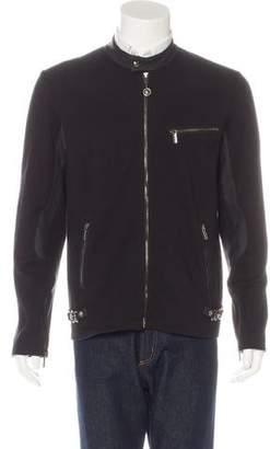 Versace Lambskin-Trimmed Moto Jacket