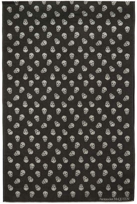 Alexander McQueen Black and White All Over Skull Scarf