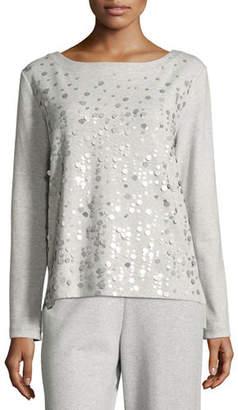 Joan Vass Luxe Cotton Interlock Sequin-Front Top, Plus Size