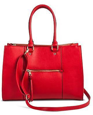 Merona; Women's Tote Faux Leather Handbag with Zip Front Pocket Red - Merona; $39.99 thestylecure.com