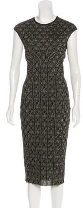 Alexander McQueen Embroidered Sleeveless Midi Dress Black Embroidered Sleeveless Midi Dress