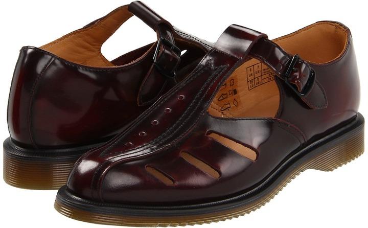Dr. Martens Deirdre Cut-Out T-Bar (Burgundy Classic Rub Off) - Footwear