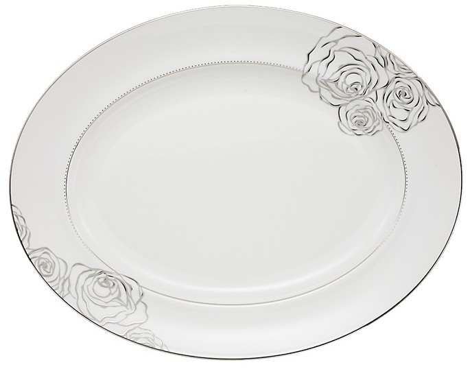 Monique Lhuillier Waterford Sunday Rose Medium Oval Platter
