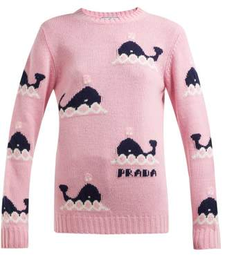 Prada Whale Intarsia Wool And Cashmere Blend Sweater - Womens - Pink Multi