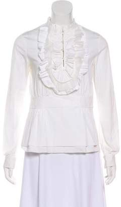 Tory Burch Ruffle Trim Long Sleeve Top