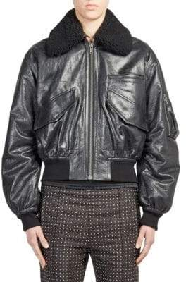 Haider Ackermann Shearling-Trim Leather Bomber Jacket