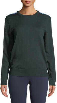 Tory Sport Double-Striped Cashmere Performance Sweater