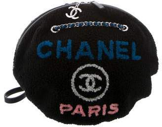 Chanel 2018 Shearling Deauville Medium Round Shopping Bag
