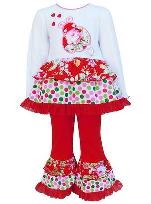 AnnLoren Red Polka Dot & Floral Long Sleeve Lady Bug 2-Piece Set (Toddler, Little Girls, & Big Girls)