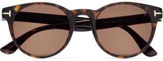 Tom Ford Palmer Round-Frame Tortoiseshell Acetate Sunglasses