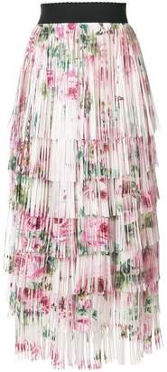 Dolce & Gabbana tiered fringed rose print midi skirt
