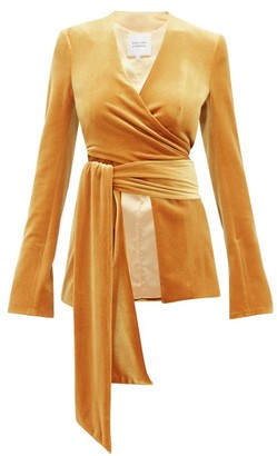 Galvan Winter Sun Velvet Wrap Jacket - Womens - Dark Yellow