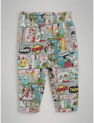 Burberry Childrens Comic Strip Print Cotton Trackpants